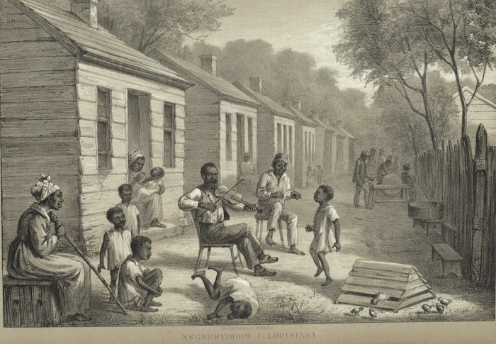 Sketch of enslaved African Americans outside of their cabins, from Sketches from the North American War, 1861-65, Adolf Carlsson Warberg, circa 1861, courtesy of University of Virginia Library.