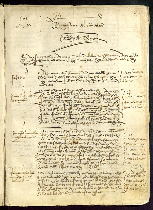 Letter from Spanish monarchs Ferdinand and Isabel to Nicolas Ovando, Spain, 16 September 1501, courtesy of the Archivo General de Indias, Sevilla, Spain.
