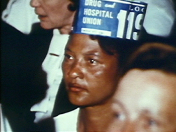 A Charleston nurse assistant in 1199B, Charleston, South Carolina, 1969, still image from <em>I Am Somebody</em>.