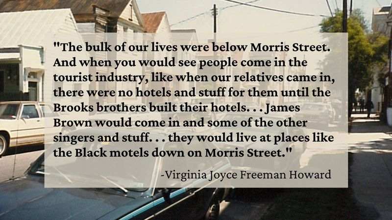 Interview with Virginia Joyce Freeman Howard, conducted by April Wood, 2017, courtesy of Historic Charleston Foundation. Background image Morris Street, 1988, courtesy of City of Charleston.