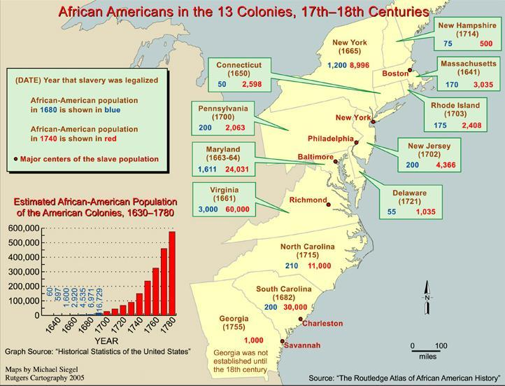 Map of African American populations in the thirteen English colonies that later became the United States, seventeenth through eighteenth centuries (modern state boundaries shown), by Michael Siegel, 2005, courtesy of Routledge Cartography.