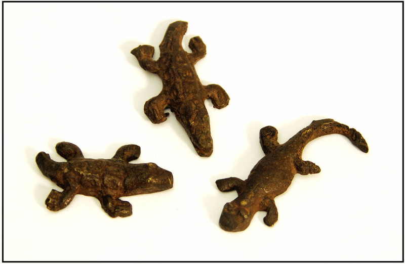 Three reptilian amulets, Togo, courtesy of The Avery Research Center for African American History and Culture.