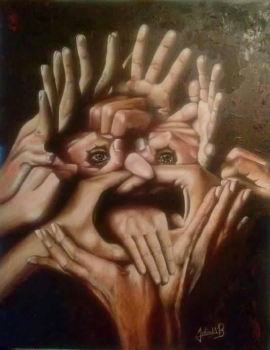 <em>Siete vidas, sueños e ilusiones</em><span>, pintura de Félix Baizabal, Pawley Island, Carolina del Sur. A pesar de que Baizabal es daltónico, su arte captura ricos colores y tonos. En este trabajo, están representados los siete miembros de su familia. Sus catorce manos componen una cara que simboliza que todos están unidos a pesar de la separación impuesta por la distancia y el borde fronterizo.</span>