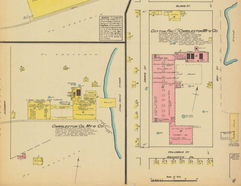Map of the Cotton Factory, Sanborn Fire Insurance Map Company, Charleston, South Carolina, ca. 1888, courtesy of the South Caroliniana Library, University of South Carolina, Columbia, South Carolina.