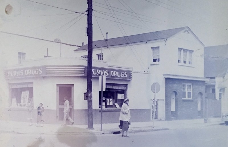 Purvis Drugs, pharmacy at 42.5 Morris Street, Walter Boags, 1951, courtesy of the Avery Research Center.
