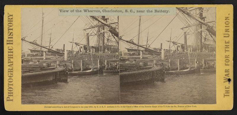 View of the wharves of Charleston near the Battery, circa 1865. Courtesy of the Library of Congress. The DeReef brothers owned a wharf near their Eastside neighborhood.