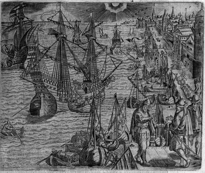 Harbor scene depicting Portuguese ships preparing to depart from Lisbon, engraving by Theodore de Bry, 1593, courtesy of the Library of Congress.