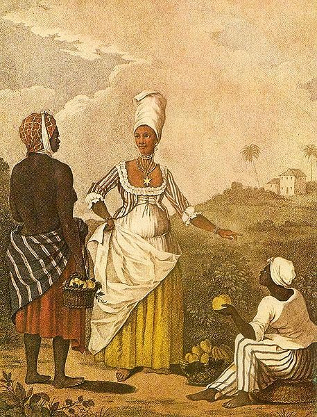 "The Barbados Mulatto Girl, painting by Augostino Brunias, ca. 1764, courtesy of the Barbados Museum & Historical Society. This painting depicts the presence of enslaved Africans and African European ""mulattos"" in Barbados, as well as a sugarcane plantation in the background. Barbadian settlers brought the plantation model to the Carolina colony, and reliance on African enslaved labor."