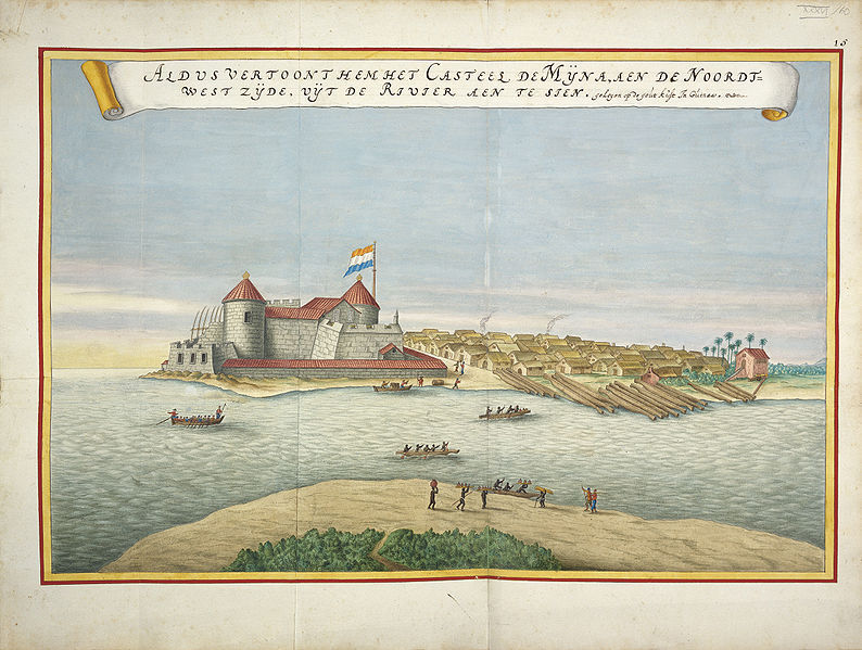 View of the Elmina slave castle on the north-west side, located on the gold coast of Guinea (present day Ghana), <em>Atlas Blaeu van der Hem</em>, ca. 1665-1668.