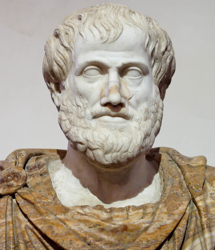 Aristotle, marble bust is a Roman copy after a Greek bronze original by Lysippos from 330 B.C., courtesy of the National Museum of Rome.