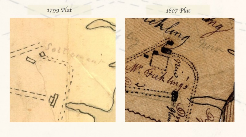 (Left) Detail of 1799 Plat, courtesy of McCrady Plat Collection, Charleston County RMS. (Right) Detail of plat of Stono River land, 1807, courtesy of South Carolina Historical Society.