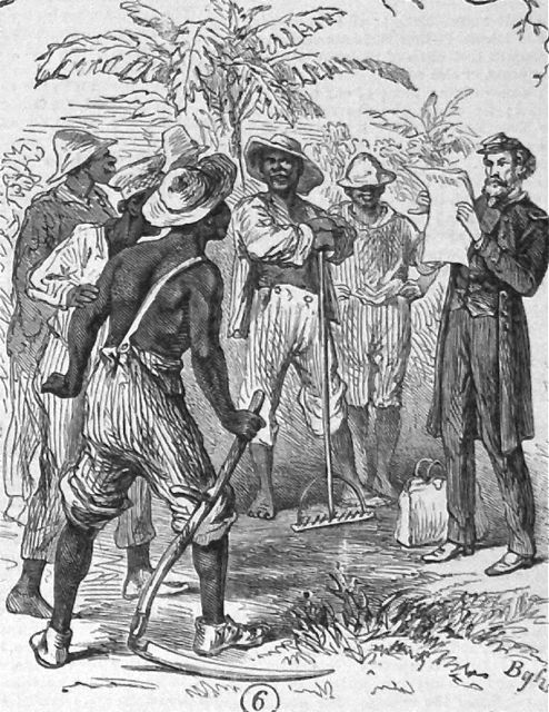 """Reading the Government order of Rights and Privileges to the Freedmen,"" from <em>The operations of the registration laws and Negro [suffr]age in the South</em>, Macon, GA and New Orleans, LA, 1867, sketch by James E. Taylor in <em>Frank Leslie's Illustrated Newspaper</em>, courtesy of Library of Congress Prints and Photographs Division."