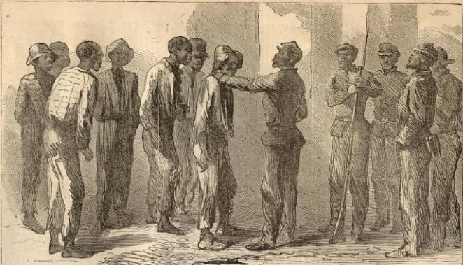 """Negro recruits at Charleston,"" Charleston, South Carolina, April 1865, <em>Harper's Monthly Magazine<em>, </em></em>courtesy of New York Public Library Digital Gallery."