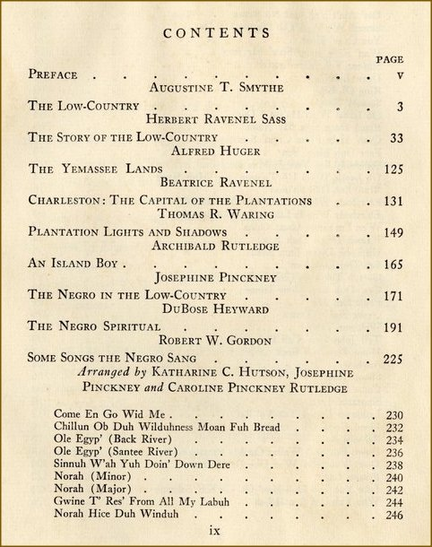 "Table of contents page from, ""The Carolina Low-Country"", 1932."