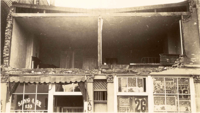 Sing Lee Laundry, 133 King Street, after a tornado, Ernest Losse, 1938, courtesy of Historic Charleston Foundation.