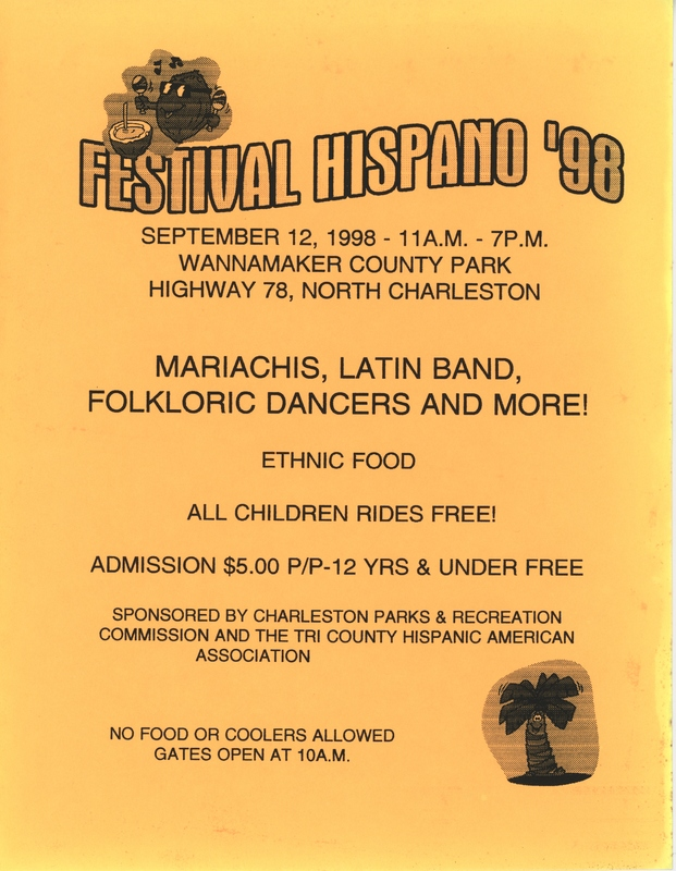 Folleto del Festival Hispano, North Charleston, 12 de septiembre de 1998, por cortesía de Lucy Cordero.