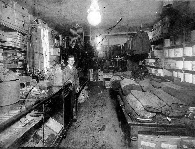 Max Goldstein in his menswear shop, 538 King Street, circa 1920, courtesy of College of Charleston Libraries.