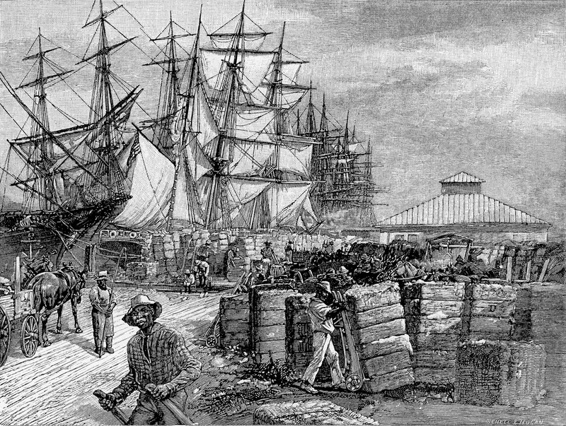 """Loading Cotton at the Wharf"" in Savannah, Georgia, illustration by Schell and Hogan, Harper & Brothers, New York, 1888, courtesy of HathiTrust Digital Library."