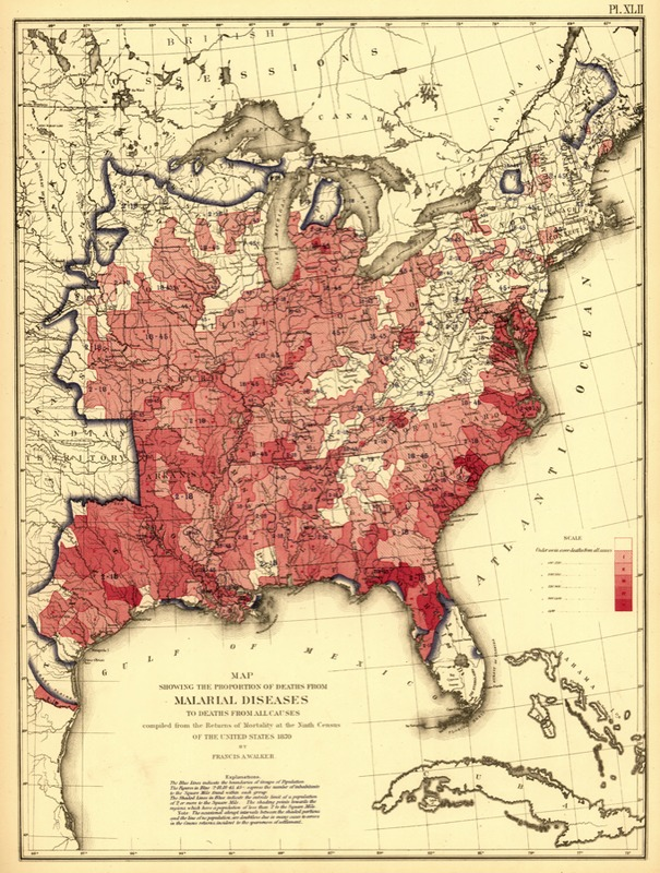 Unites States map showing the proportion of deaths from malarial diseases, by Francis A. Walker, 1870, courtesy of the Library of Congress.