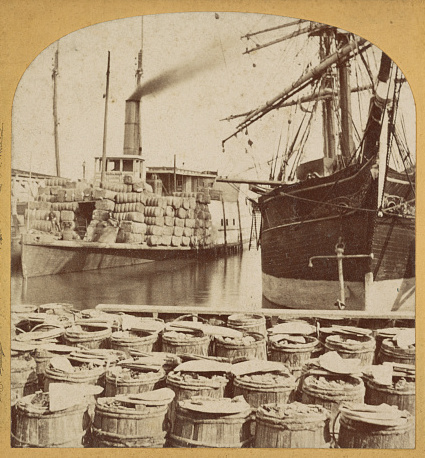 "Photograph of the steamship ""Planter"" loaded with supplies, Charleston, South Carolina, c. 1860-1870, courtesy of Library of Congress."