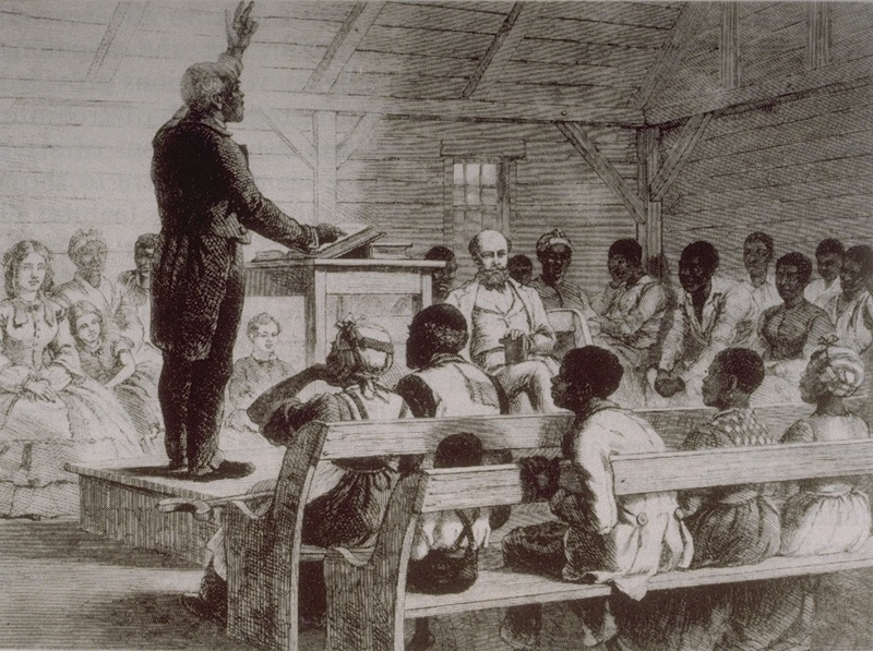 Illustration of an enslaved man preaching to a congregation of enslaved people with the slaveholding family present, from The Illustrated London News, Port Royal, South Carolina, 1863, courtesy of University of Virginia Library.