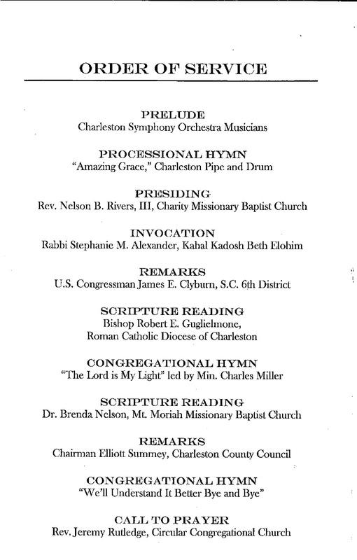 The program for the City of Charleston Community Prayer and Healing Vigil, June 19, 2015, Charleston, South Carolina.