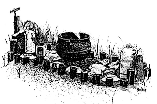 Illustration depicting traditional African grave plot, courtesy of SCIWay.