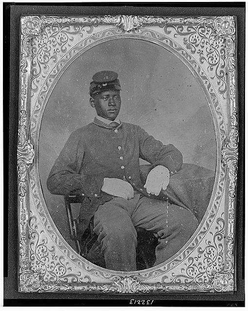 African American soldier, ca. 1860-1870, Gladstone Collection of African American Photographs, courtesy of the Library of Congress.