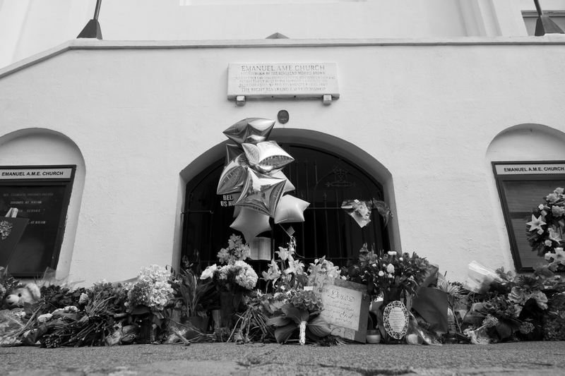 Flowers, notes, balloons, and other items left outside the Emanuel AME Church, photograph by Delane Chavez, June 20, 2015, Charleston, South Carolina.