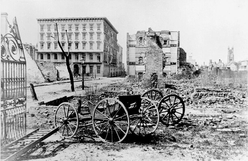 The Mills House hotel and a city block in ruins at the end of the Civil War, Charleston, South Carolina, c. 1865, courtesy of the National Archives.