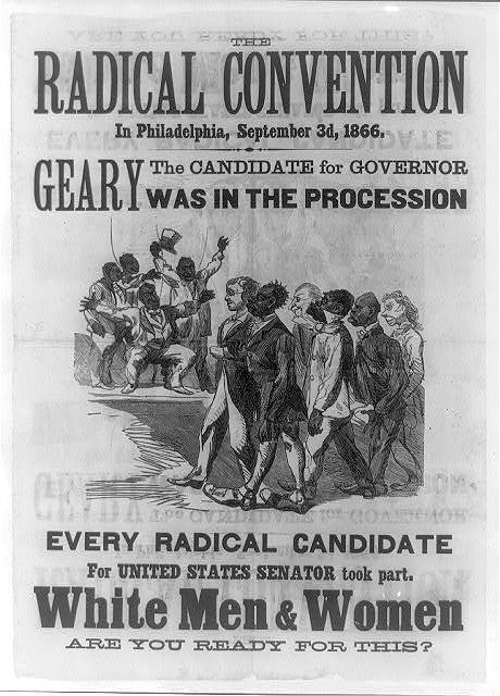 """The Radical Convention in Philadelphia,"" woodcut with letterpress, September 3, 1866, courtesy of Library of Congress Rare Book and Special Collections Division. Engraving illustrates degrading stereoptyes of interracial political alliances."
