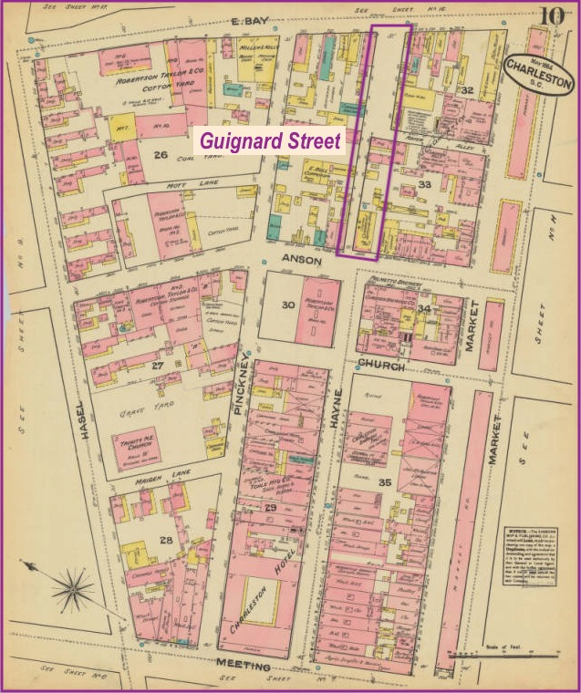 Map of Charleston showing Guignard Street, Sanborn Fire Insurance Company, Charleston, South Carolina, 1884, courtesy of University of South Carolina, South Carolinian Library.
