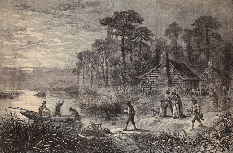 Wood engraving depicting enslaved people escaping by boat to cross Union lines, Harper's Weekly, 1864, courtesy of Internet Archive.