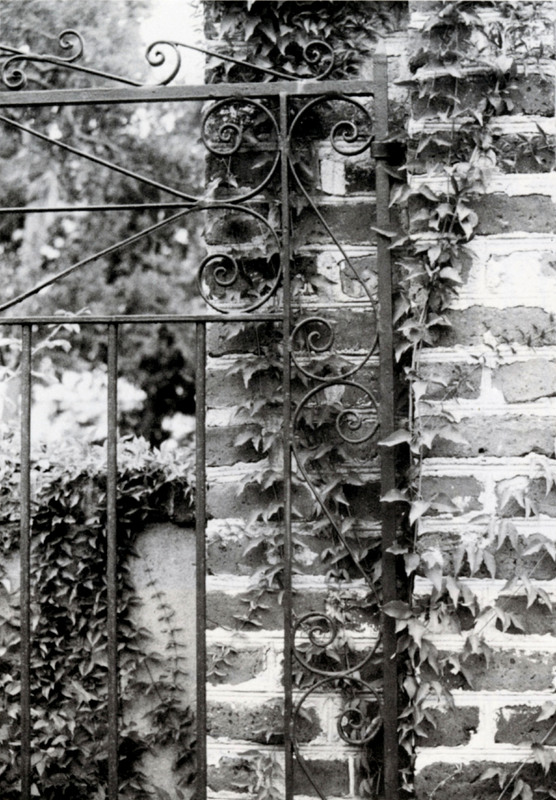 """Romanza,"" 125 Tradd Street, Charleston, South Carolina, 1993, photograph by Claire Y. Greene, Keeper of the Gate: Designs in Wrought Iron by Philip Simmons, Master Blacksmith, courtesy of the Philip Simmons Foundation."