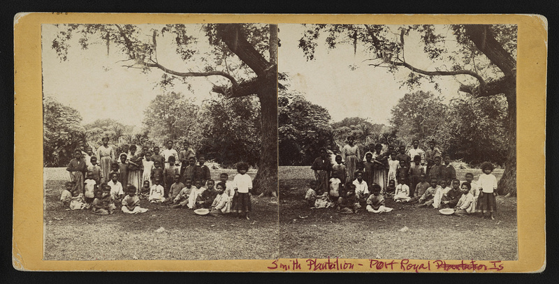 Formerly enslaved, newly freed women and children at Smith Plantation, Hubbard & Mix, 1863, Port Royal, South Carolina, courtesy of Library of Congress.