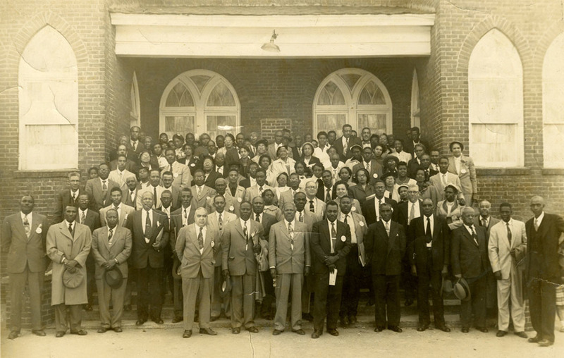 South Carolina Chapter of the NAACP featuring James M Hinton, President of South Carolina Branches (front row, fifth from left), 1950s, courtesy of the Avery Research Center.