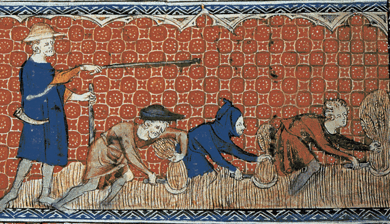Serfs in feudal England on a calendar page for August from Queen Mary's Psalter, ca. 1310, courtesy of the British Library Manuscripts Online Catalogue.