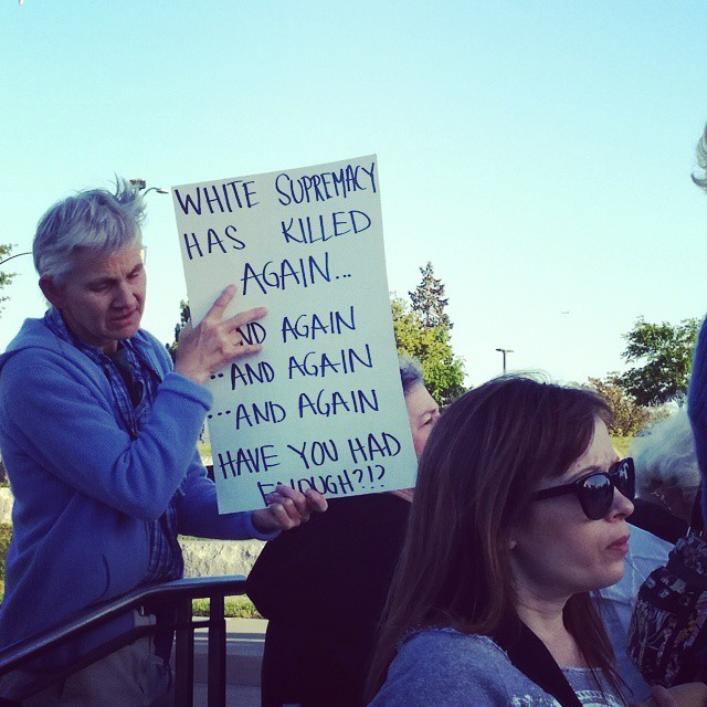 A protester at the Lake Merritt march, Instagram photograph by Pamela Drake, June 21, 2015, Oakland, California.