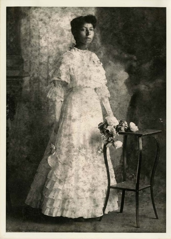 Lucille Turner McCottry, Avery Normal Institute graduate, Class of 1907, ca. 1907, courtesy of the Avery Research Center. McCottry is wearing a graduation dress she made with the help of her older sister. Prior to 1919, a citywide ordinance prevented Black teachers from working in Charleston's Black public schools. Avery graduates who pursued teaching before that time, such as McCottry and Septima Poinsette, had two options: apply for a position at private schools like Avery or find work teaching outside of the city.