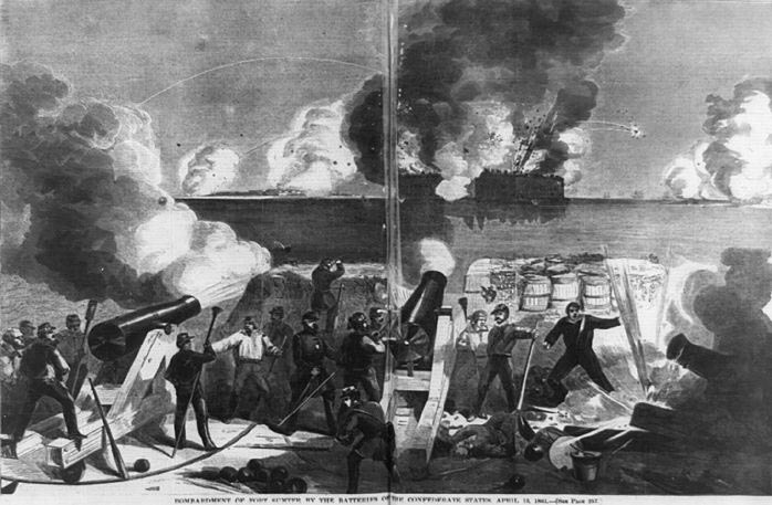 """Bombardment of Fort Sumter by the batteries of the Confederate states,"" illustration from <em>Harper's Weekly</em>, April 27, 1861, courtesy of the Library of Congress, Prints and Photographs Division."