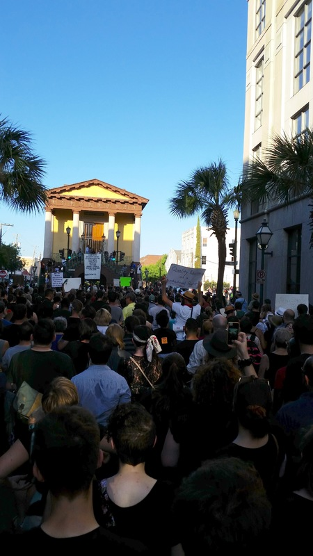 Black Lives Matter marchers gathered at the steps of the Daughters of the Confederacy building where the march ended, photograph by Harry Egner, June 20, 2015, Charleston, South Carolina.