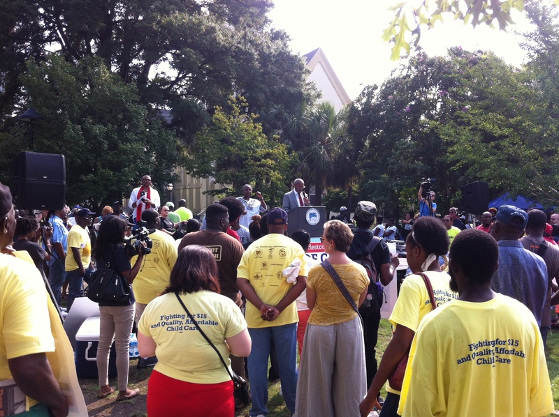 Participants listen to Reverend Joseph Darby at the Days of Grace March and Rally, photograph by Mary Battle, September 5, 2015, Charleston, South Carolina.