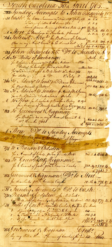 Ledger entries for the 30th of April, 1765, Charles Town, South Carolina, The James Poyas Daybook Collection, courtesy of the Charleston Museum Archives.