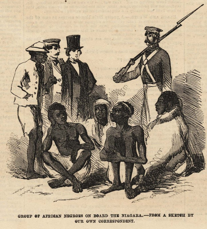 """Group of African Negroes on Board The Niagara.--From a sketch by our own correspondent,"" <em>Frank Leslie's Illustrated Newspaper</em>, October 9, 1858, Charleston Museum Illustrated Newspapers Collection, courtesy of the Charleston Museum."