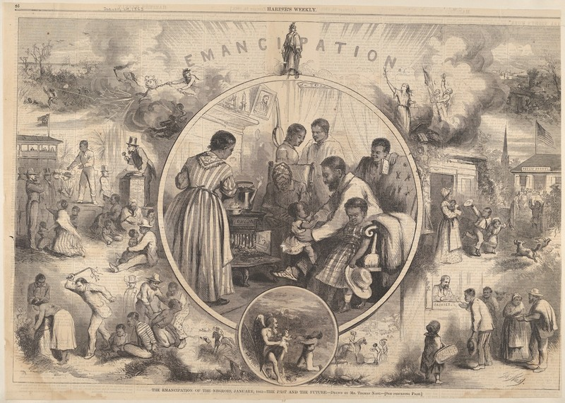 """Emancipation of the Negroes - The Past and the Future,"" Thomas Nast, 1863, courtesy of the Metropolitan Museum of Art."