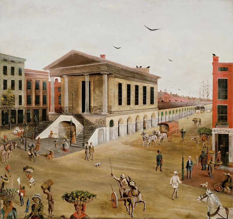 """Charleston Square,"" painting by Charles J. Hamilton, Charleston, South Carolina, 1872, courtesy of the Abby Aldrich Rockefeller Folk Art Museum, The Colonial Williamsburg Foundation."