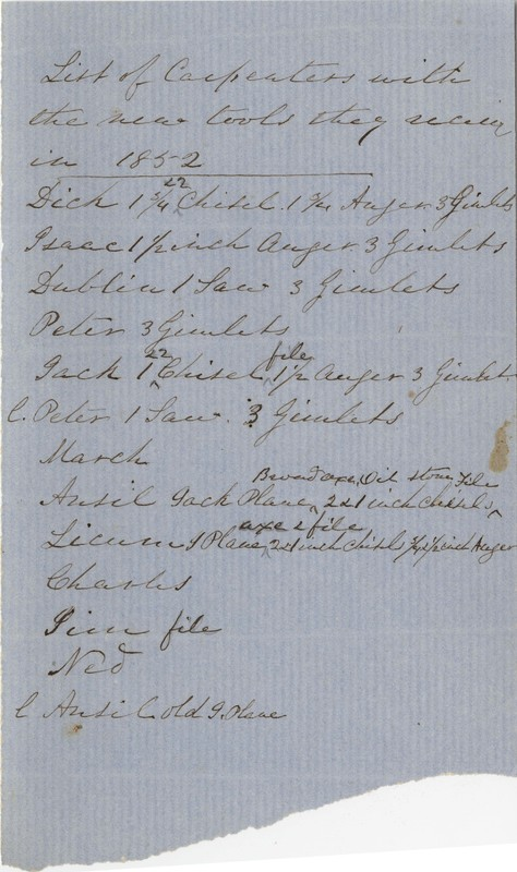 List of Slave Carpenters with New Tools Received, 1852, Heyward and Ferguson Family Papers Collection, courtesy of Special Collections at the College of Charleston.