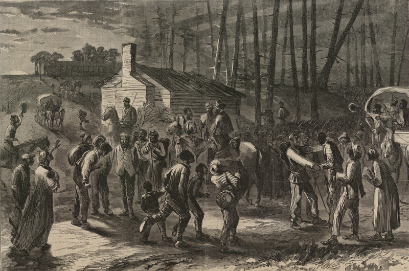 Colored troops under General Wild liberating slaves in North Carolina, 1864, <em>Harper's Weekly</em>.
