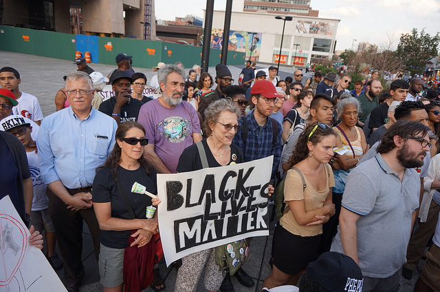 Attendees gathered at the NYC Stands with Charleston Vigil and Rally, photograph by The All-Nite Images, June 22, 2015, New York, New York.