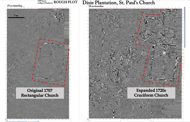 Ground-penetrating radar (GPR) image of St. Paul's Church structure, by M. Scott Harris, 2009.